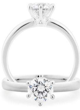 Diamond 6 Claw Solitaire Engagement Ring