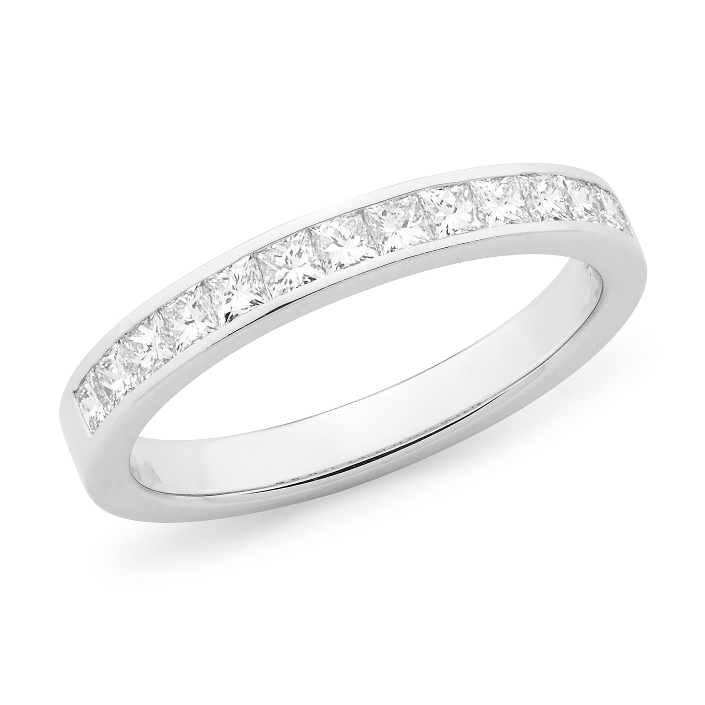 Prinsess Cut Diamond Channel Set Straight Wedding Ring in Yellow Rose and White Gold