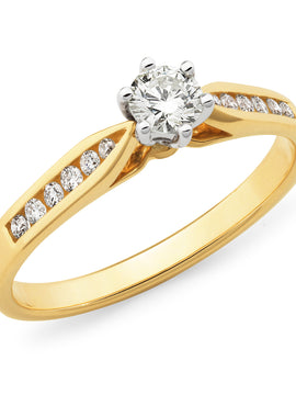 Diamond Channel Set Straight Wedding Ring in Yellow and White Gold
