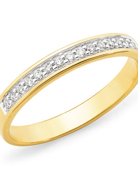 Diamond Channel Set Straight Wedding Ring in Yellow Rose and White Gold