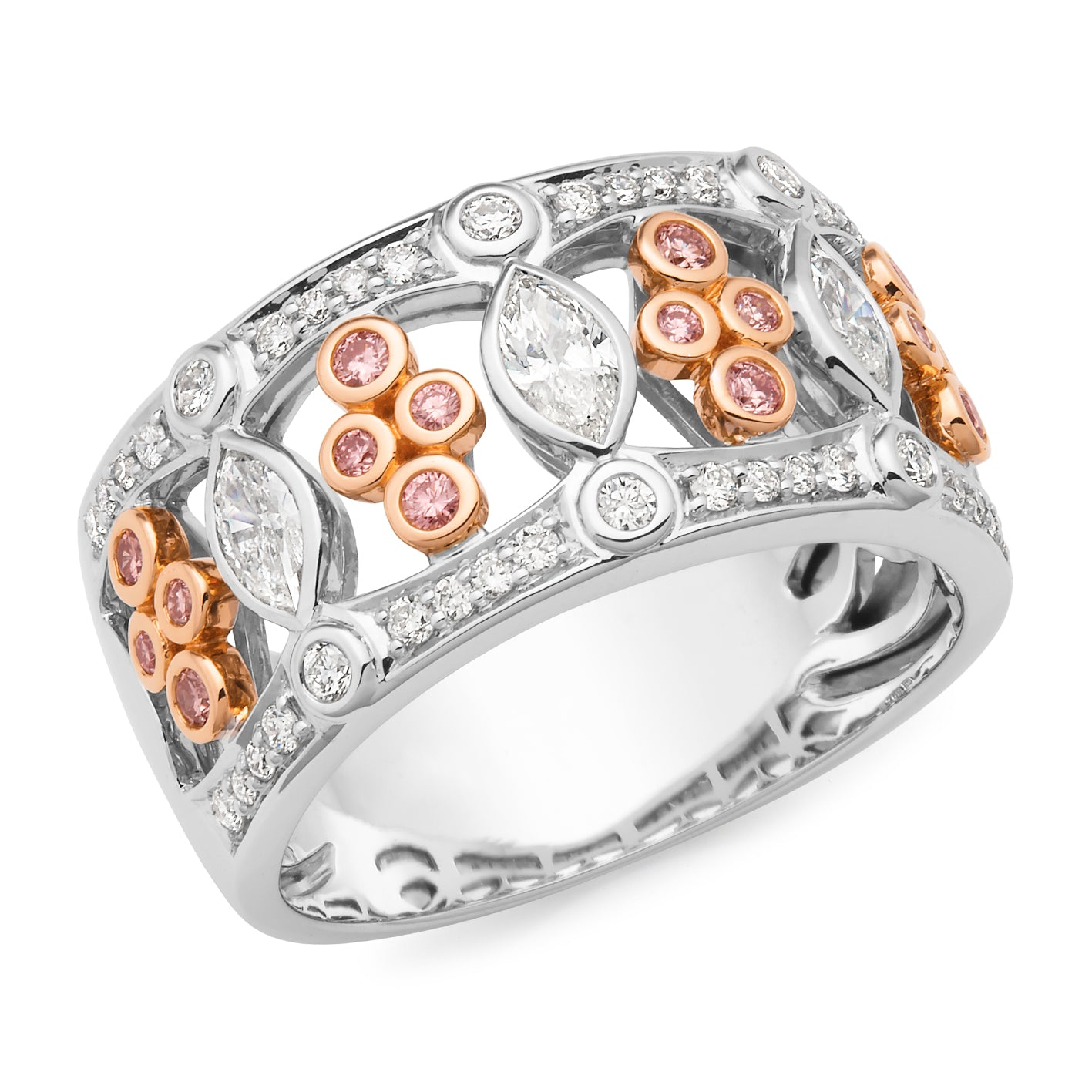 Diamond Bead Set Pink Diamond Collection Dress Ring in 18ct White & Rose Gold
