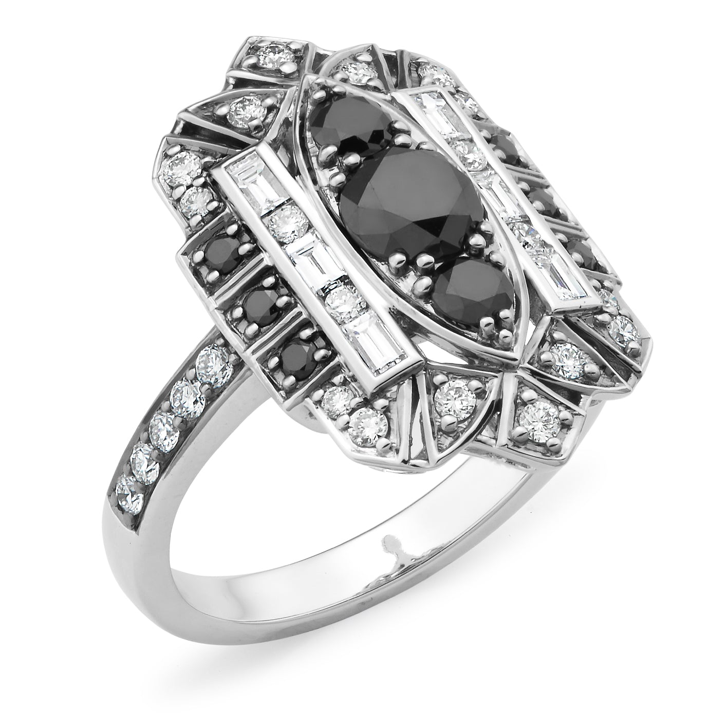 Black Diamonds & White Diamonds Bead Set Ring Estelle in 9ct White Gold