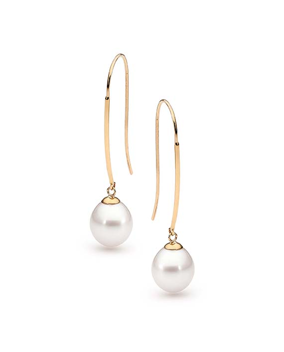 FRESHWATER PEARL LONG HOOK EARRINGS