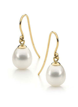 9CT WHITE DROP FRESHWATER PEARL SHEPHERD HOOK EARRINGS
