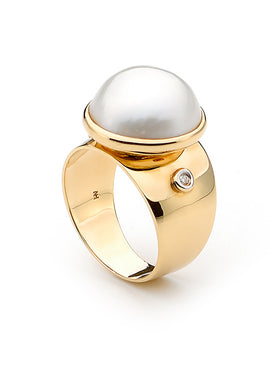 13MM MABE RING (SILVER OR 9CT YELLOW GOLD)