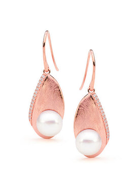 STERLING SILVER BUTTON FRESHWATER PEARL FROSTED CZ HOOK EARRINGS