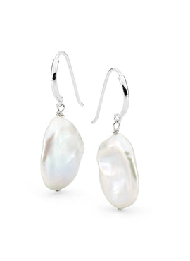STERLING SILVER WHITE 14-16MM KESHI FRESHWATER PEARL HOOK EARRINGS