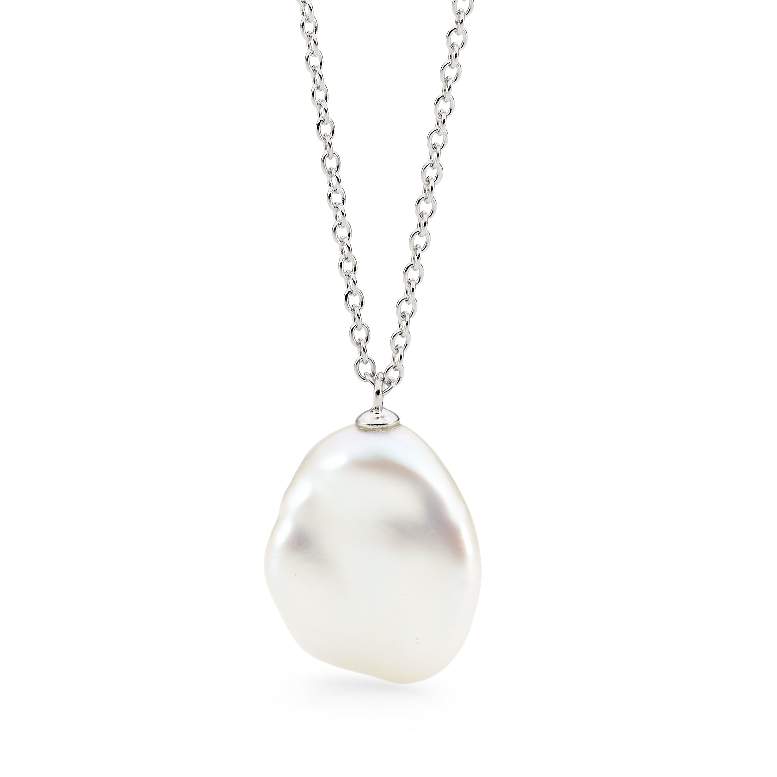 STERLING SILVER WHITE KESHI FRESHWATER PEARL NECKLACE