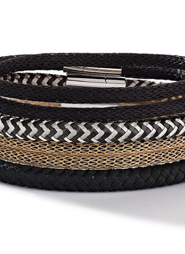Braided textile bracelet black 0115_31_1300
