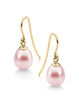 9CT PINK DROP FRESHWATER 9-9.5mm PEARL SHEPHERD HOOK EARRINGS