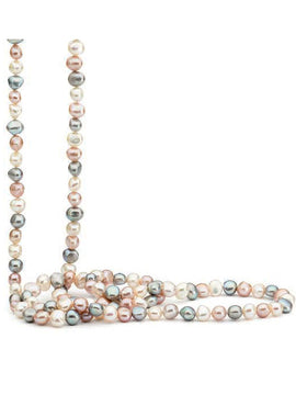 WHITE, GREY, PINK BAROQUE FRESHWATER PEARL 120cm STRAND
