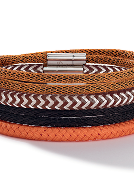 Stainless Steel mesh double wrap bracelet orange 0111_35_0200