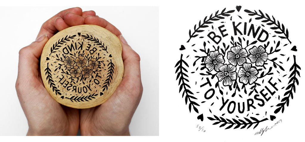 Molly Lemon Wood Engraving Quote