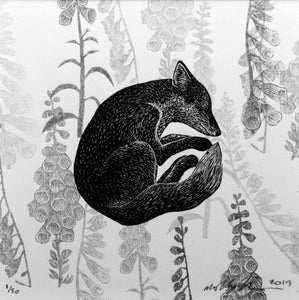 Molly Lemon Wood Engraving Fox