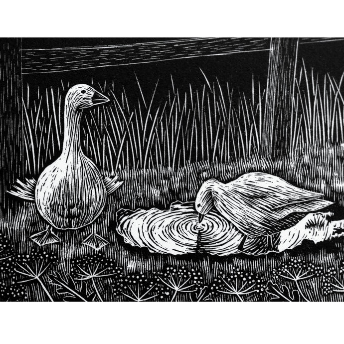 Molly Lemon Wood Engraving Geese