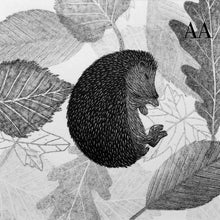 Load image into Gallery viewer, Sleeping Hedgehog Amongst the Leaves 2020