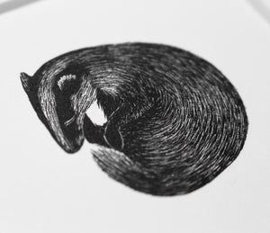 Molly Lemon Wood Engraving Badger