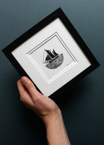 Molly Lemon Wood Engraving Boat