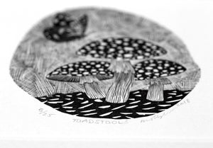 Molly Lemon Wood Engraving Toadstools