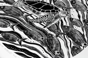 Molly Lemon Wood Engraving Turtle