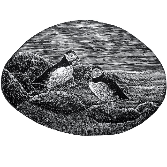 Molly Lemon Wood Engraving Puffins