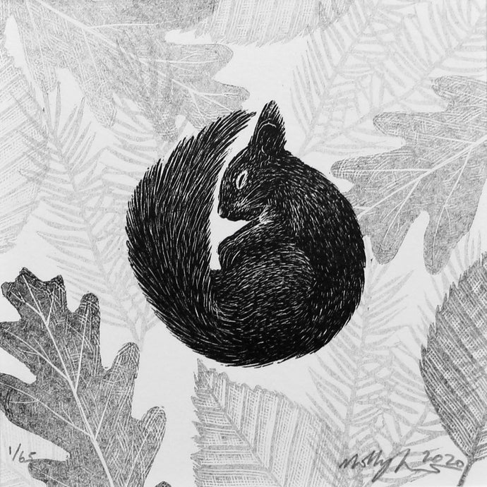Molly Lemon Wood Engraving Squirrel