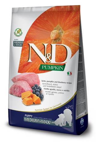 N&D Pumpkin Medium e Maxi Puppy con Agnello e Mirtillo 12 kg