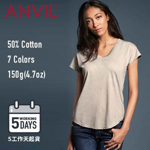 【5工作天起貨】ANVIL 6750VL 150g Ladies Tri-Blend V-Neck T-Shirt Copy