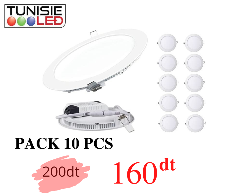 PACK 10 PCS  SPOT PANEL ROND 18W 6000K
