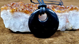 Black Obsidian Circle Necklace