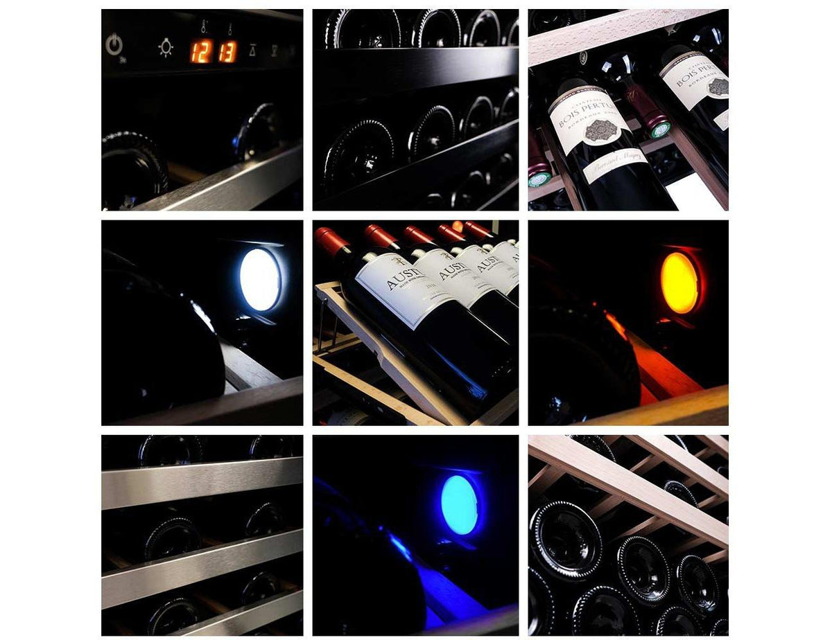 Pevino Ng 190 Bottles - Dual Zone Wine Cooler - Black Glass Front-Expert Wine Storage