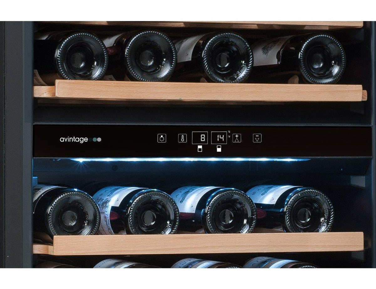 Avintage AVI81XDZA - Dual Zone - Integrated - 79 Bottles - 600mm Wide - Black-Expert Wine Storage