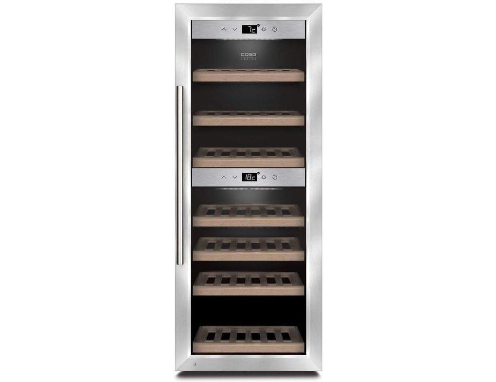 CASO WineComfort 38 - Freestanding Dual Zone Wine Cooler / Wine Fridge - 38 Bottle - 395mm Wide - Expert Wine Storage