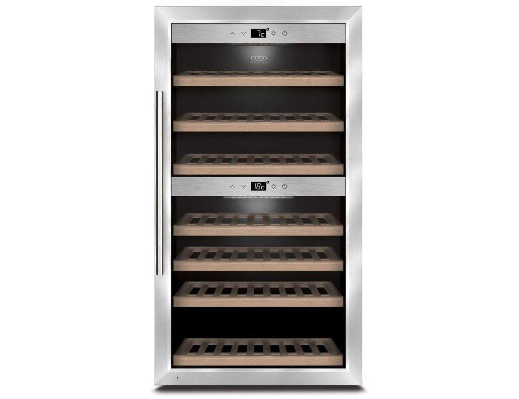 CASO WineComfort 66 - Freestanding Dual Zone Wine Cooler - 66 Bottle - 595mm Wide - Expert Wine Storage