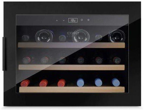 CASO WineSafe 18 EB - Black - Integrated Wine Cooler / Wine Fridge - Single Zone - 18 Bottles - 560mm Wide - Expert Wine Storage