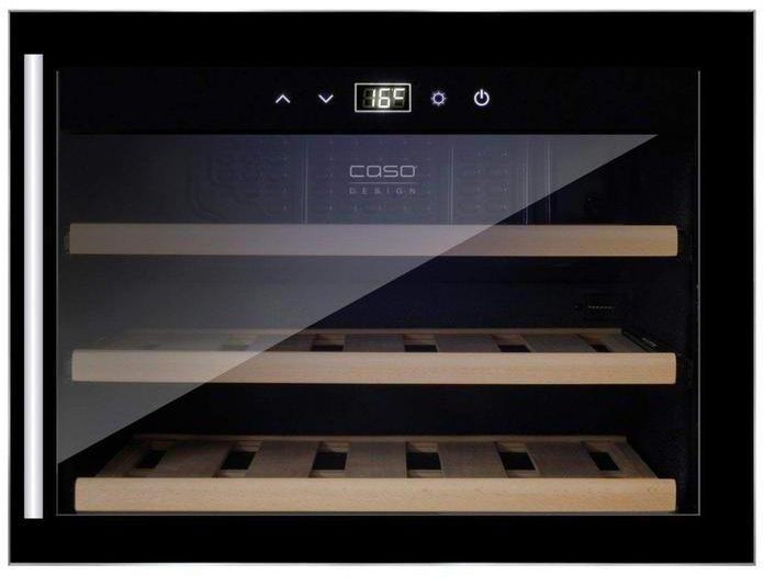 CASO WineSafe 18 EB Black - Single Zone Integrated Wine Cooler - 18 Bottle - 550mm Wide - Expert Wine Storage