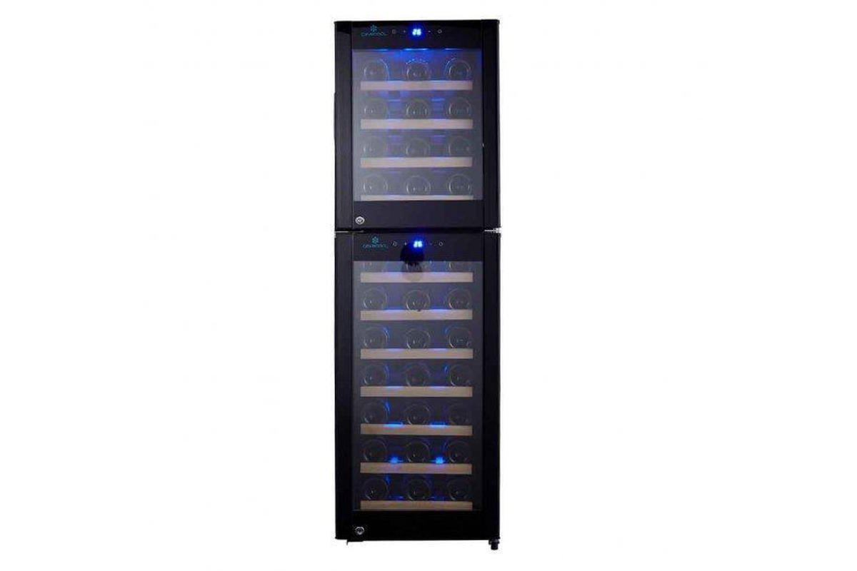 Cave Cool Primo Pearl Wine Fridge - 53 Bottles - Dual Zone Wine Cooler - Black + Free Cork Screw - Expert Wine Storage