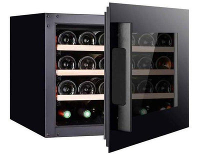 Pevino PI24S-B Wine Fridge - 24 Bottles - Single zone Integrated wine cooler - 550mm Wide - Black glass front + free corkscrew - Expert Wine Storage