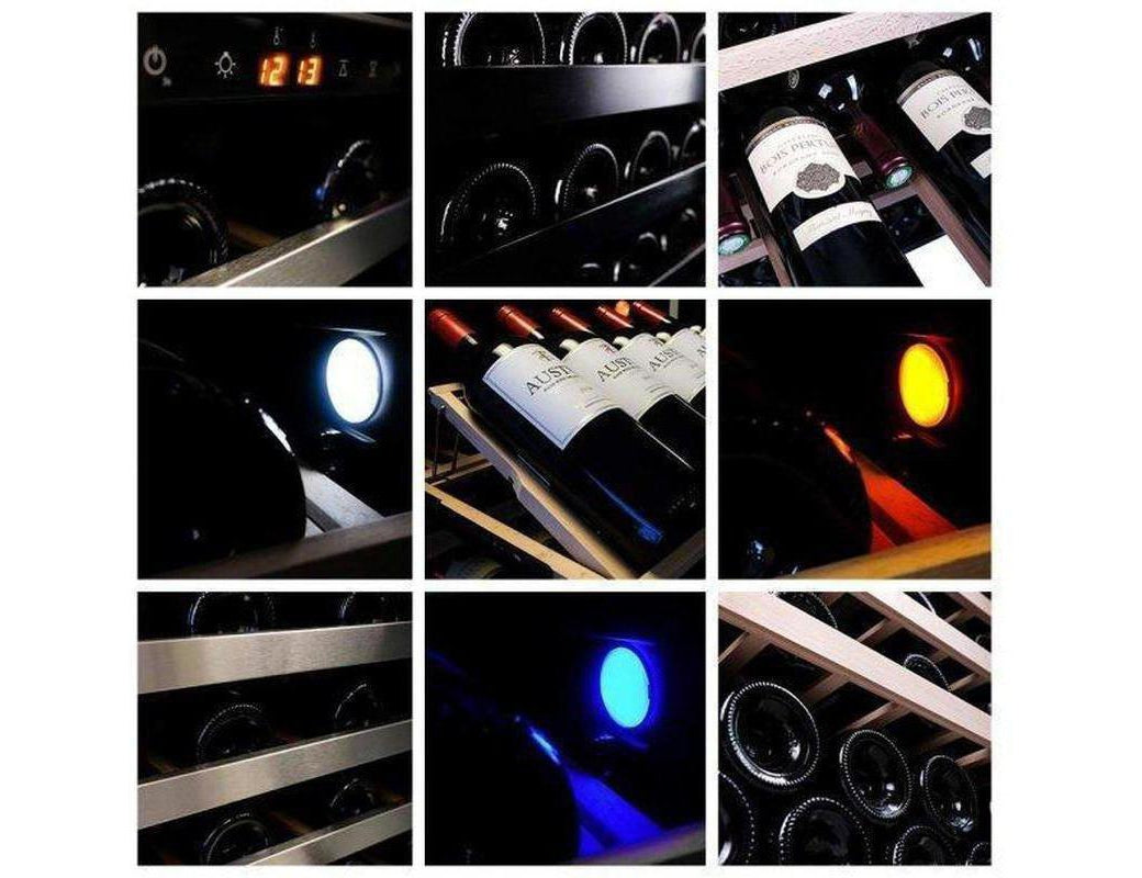 Pevino PNG120S Wine Fridge - 130 Bottle - Single Zone Wine Cooler - 595mm Wide - Black + Free Corkscrew - Expert Wine Storage
