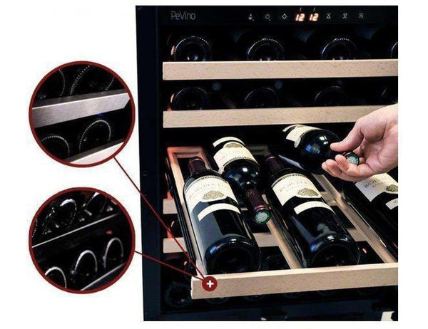 Pevino PNG46S-HHB Wine Fridge - 46 bottle - 1 zone - Built In - wine cooler - 595mm - Black + free corkscrew - Expert Wine Storage