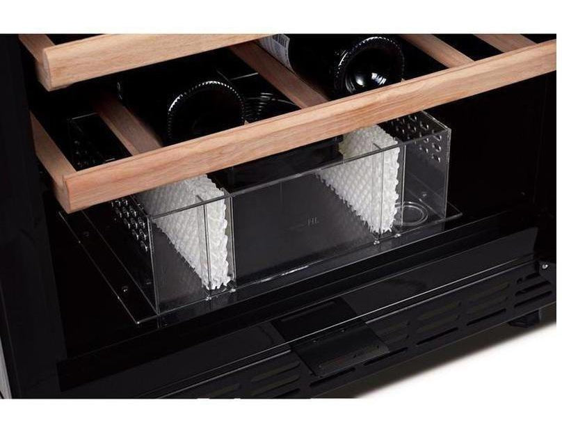 Swisscave WLB-450FL-HU - Black Edition - Dual Zone Wine Cooler / Wine Fridge With Ambient Furnishing (158-200 Bot) With Active Air Humidification Management - Expert Wine Storage