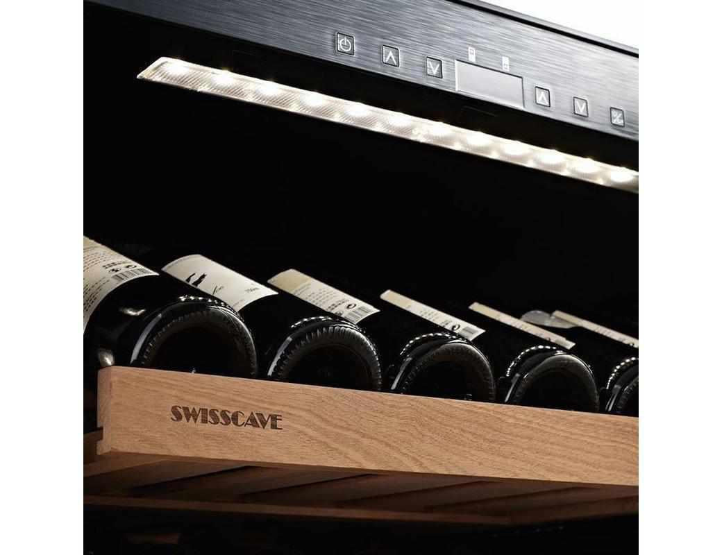 Swisscave WLB-460DFLD - Black Edition Dual Zone Wine Cooler / Wine Fridge With Gastro Furnishing (124-210 Bot) - 595mm Wide - Expert Wine Storage