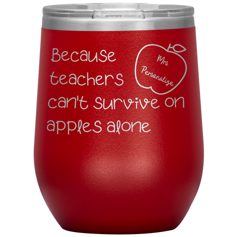 *PERSONALIZED* Teacher's Survival Wine Tumbler