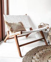 Load image into Gallery viewer, TEAK WOOD WHITE LOUNGE CHAIR