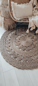 ROUND NATURAL WATER HYACINTH GRASS RUG 120cm