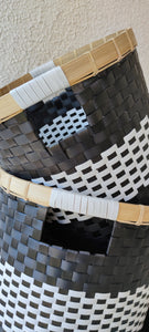 BLACK AND WHITE RIM BAMBOO BASKET XLARGE