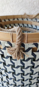 BLACK AND WHITE PATTERN RIM BAMBOO BASKET SMALL