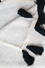 Load image into Gallery viewer, WHITE RAW COTTON THROW WITH BLACK TASSELS