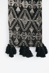 BLACK & WHITE TRIBAL PATTERN RAW COTTON THROW WITH TASSELS