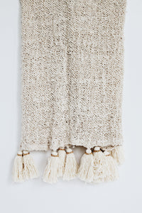 NATURAL RAW COTTON THROW WITH NATURAL TASSELS